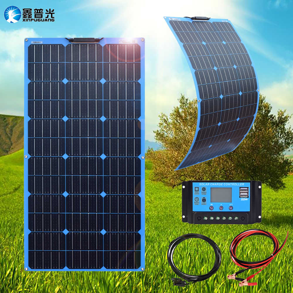 Xinpuguang flexible solar panel 100w 12v home system kit mono pv Tragbare 12v Batterie ladegerät mit 10A Controller pv Kabel