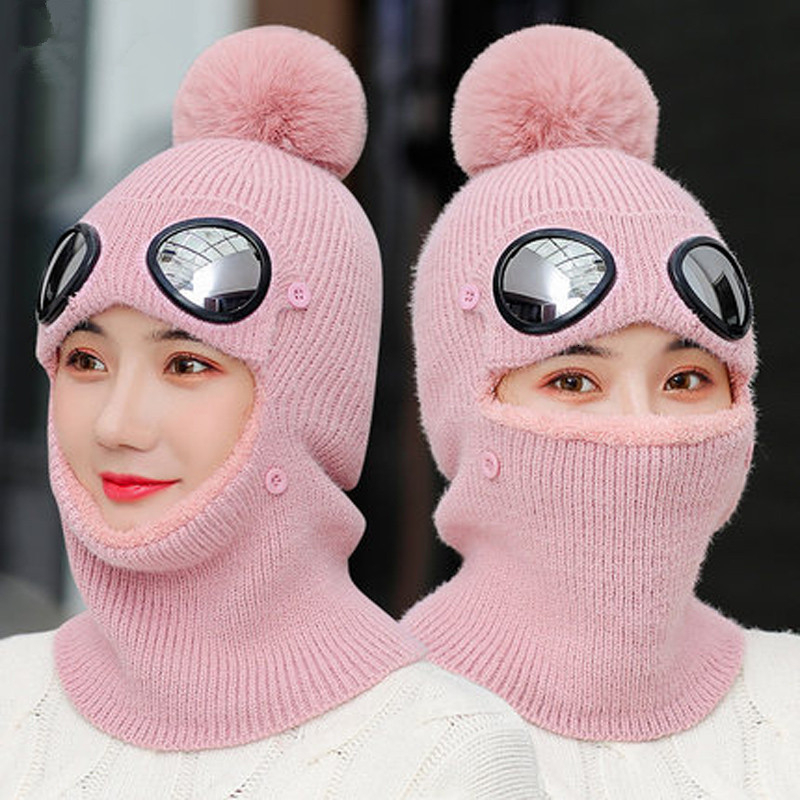 2019 New Fashion Women Ski Cap For Women Men Knitted Hat Cap Thicken Warm Beanies Skiing With Glasses Winter Hats Female