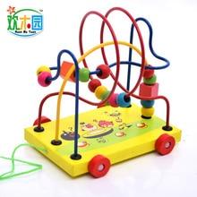 Huan деревянный парк мультфильм Кот и мышь интеллект трейлер бусина-нанизывая игрушка бисерный браслет Детские Обучающие деревянные детские