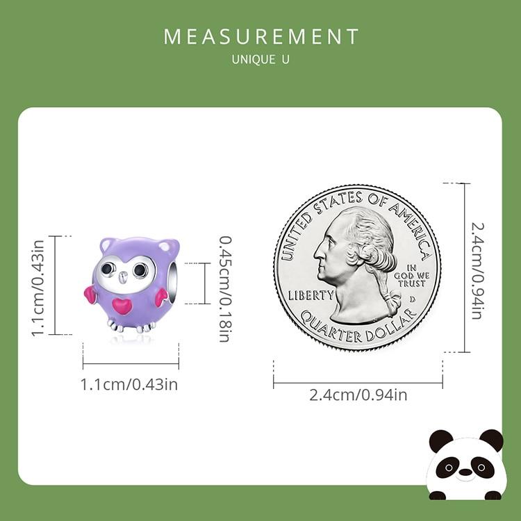 purple size 925 Sterling Silver Cute Enamel Cartoon Charm Purple Fun Owl Bead Panda Deer Bead Rainbow Bird Pendant for Bracelet DIY4