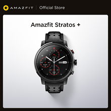 Amazfit-reloj inteligente Stratos +, insignia, correa de cuero auténtico, cristal de zafiro, para teléfono Android