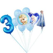 1 conjunto novo elsa disney congelado princesa 32 polegada azul número da folha balões festa de aniversário da menina do chuveiro do bebê decorações crianças brinquedos