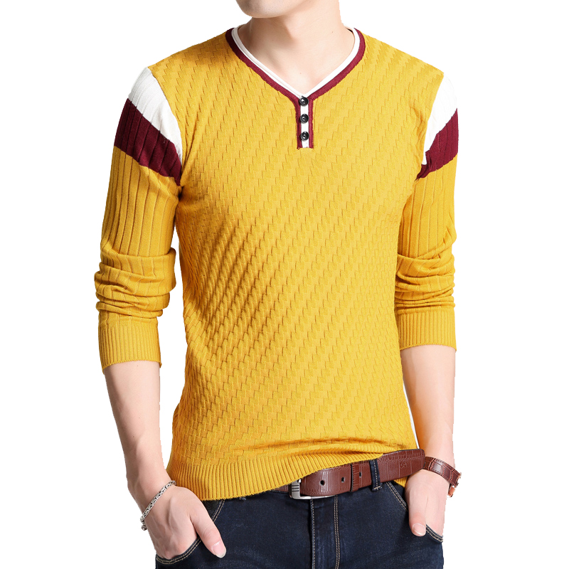 BROWON Brand-sweater Autumn Men's Button V-collar Slim Fit Sweaters Men Elastic Knitted Sweaters  Knitted Pullover Men Knitted 1