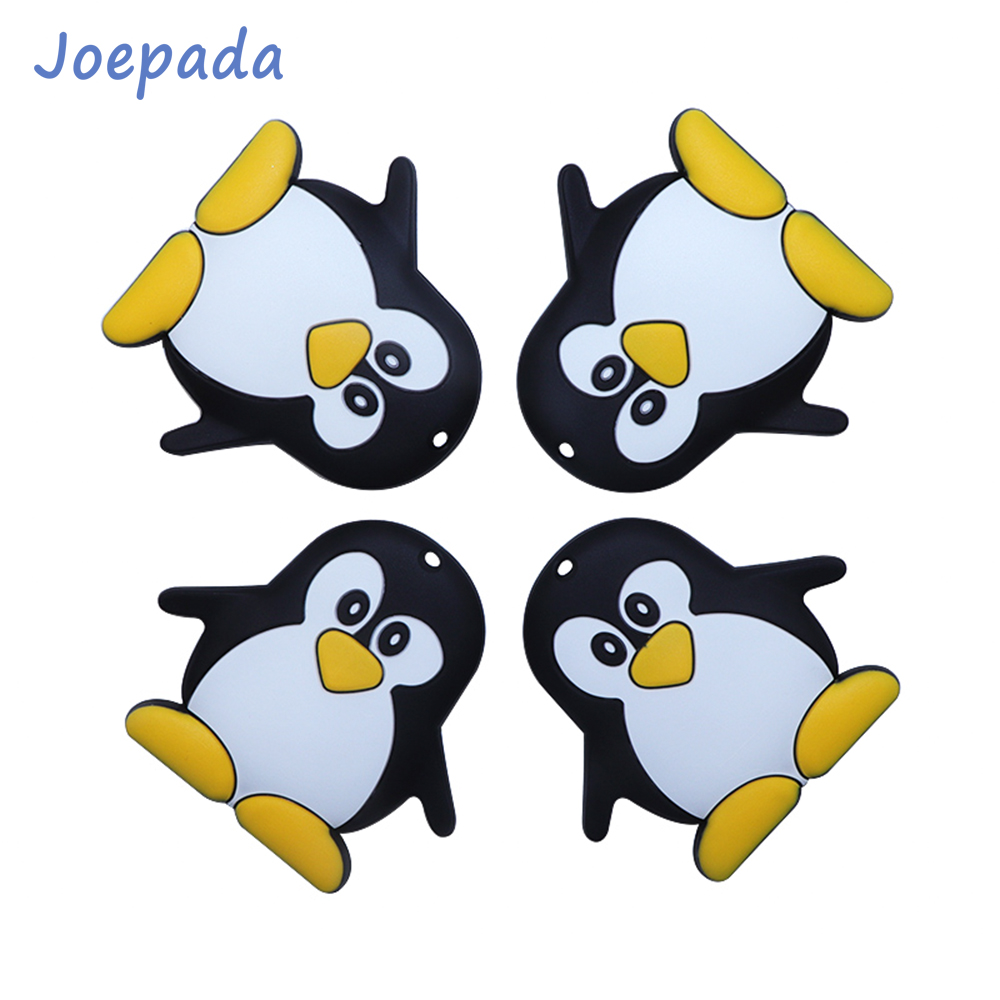 Joepada 1/5/10Pcs Cartoon Penguin Silicone Baby Teether For Baby Silicone Beads Teething Toys BPA Free Silicone Teething Beads