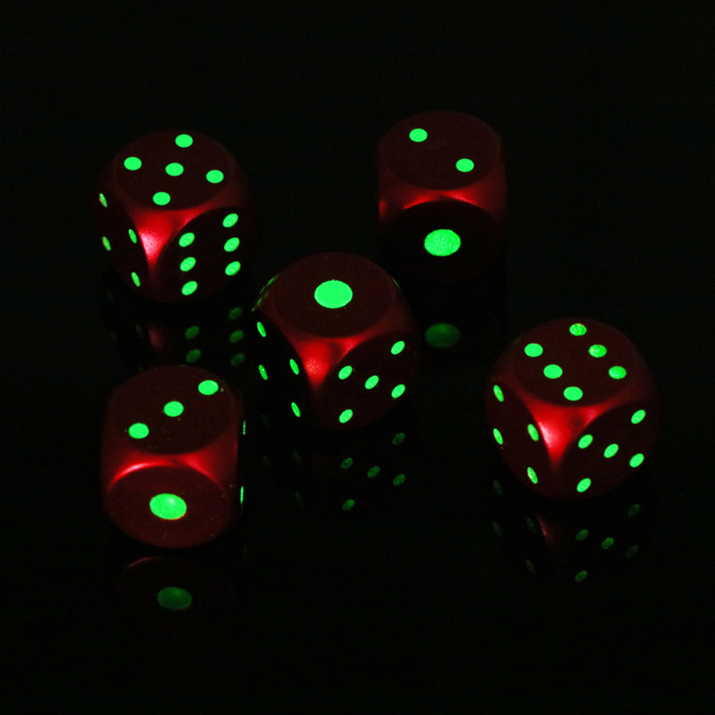5-Pack/Box D6 Six Sides 16mm Luminous Pips Dice For DND MTG PRG Wow Table Games