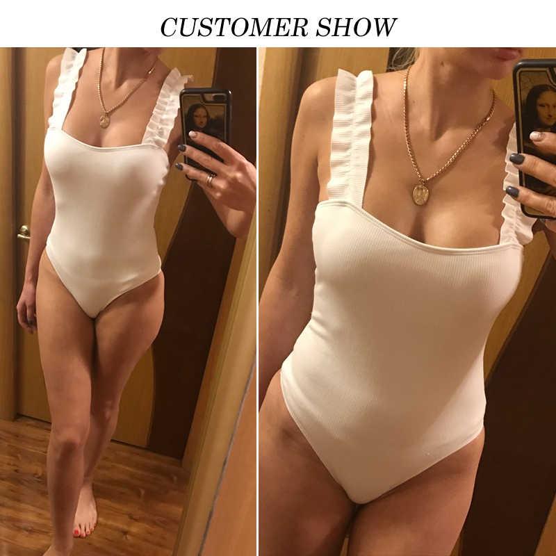 Peachtan, сексуальный, с высокой посадкой, боди, бикини, 2019, Одноцветный, белый, купальник, цельный, монокини, с оборками, купальник для женщин, купальный костюм