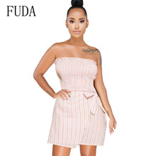 FUDA Sexy Off Shoulder Striped Stretch Wrapped Chest Bow Tie-up Dress Elegant Summer Hollow Out Casual Night Party Female Dress self tie shoulder striped dress