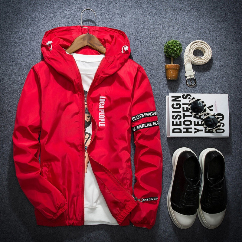 Spring Autumn Thin Windbreaker Jacket Men Plus Size M-4XL Jaqueta Masculina Slim Fit Young Men Hooded Bomber Jacket Men