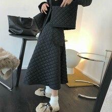 Umbrella Skirt Dark-Winter Thick High-Waist Korean Fashion Women A-Line QUILTED Three-Dimensional-Profile