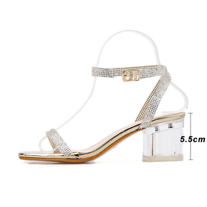 Image 3 - Kcenid Elegant rhinestone sandals women transparent bling crystal shoes ankle buckle strap dress shoes woman clear heel sandals