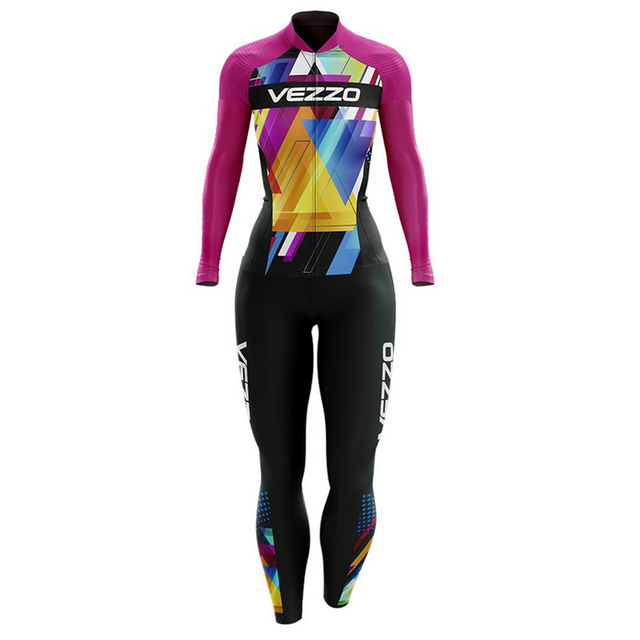 Vezzo ciclismo skinsuit terno primavera e no outono manga longa roupas de bicicleta feminino roupa de corrida conjunto 3