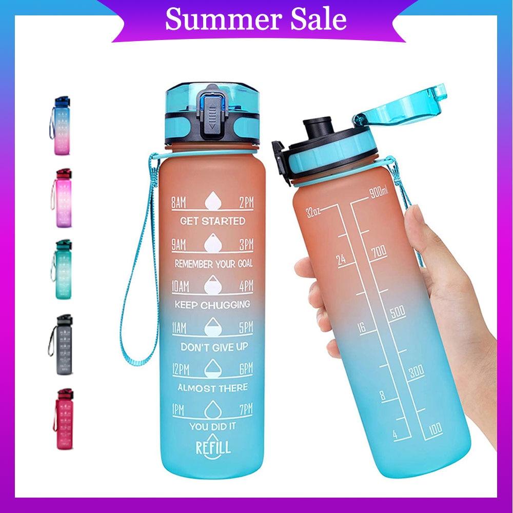 Sport Water Bottles 1L Portable Gym Anti-fall Leak-proof Large Capacity Fitness Kettle Tritan Plastic Waterbottle