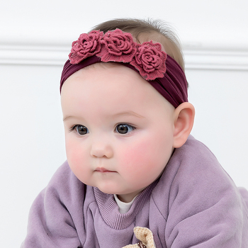Solid Color Chic 3 Rose Flower Baby Girl Headband Artificial Flowers Headwear Hair Accessories Photography props
