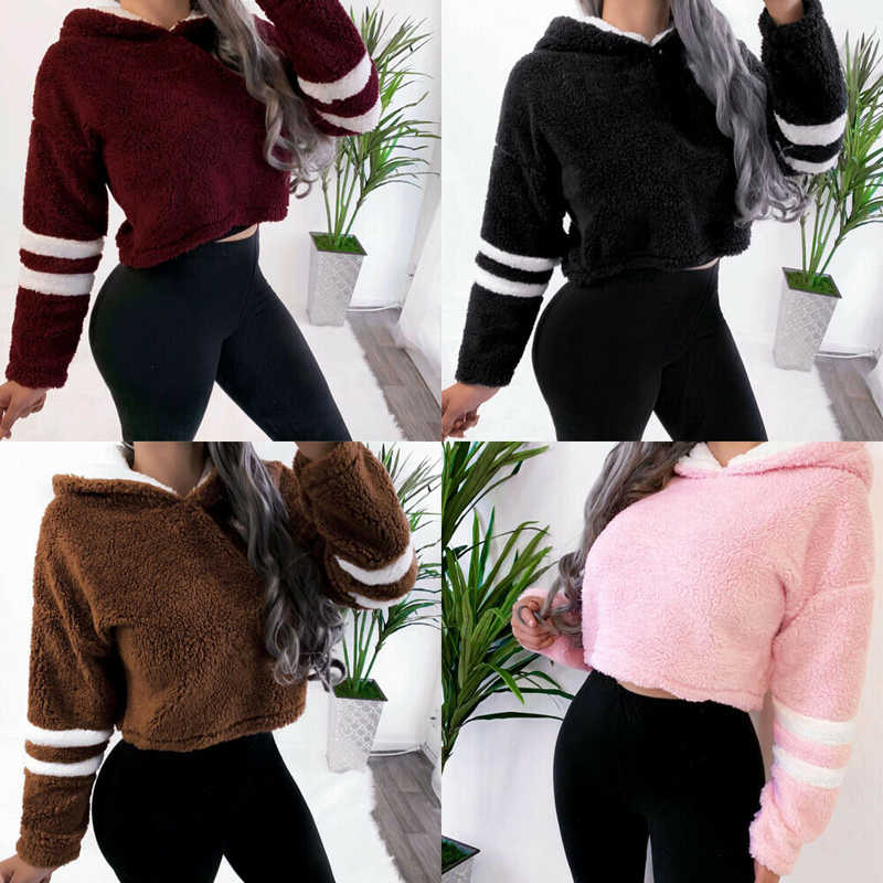 S-XL women fleece hoodies 2020 긴 소매 후드 풀오버 스웨터 가을 겨울 따뜻한 지퍼 포켓 모피 코트 플러스 사이즈