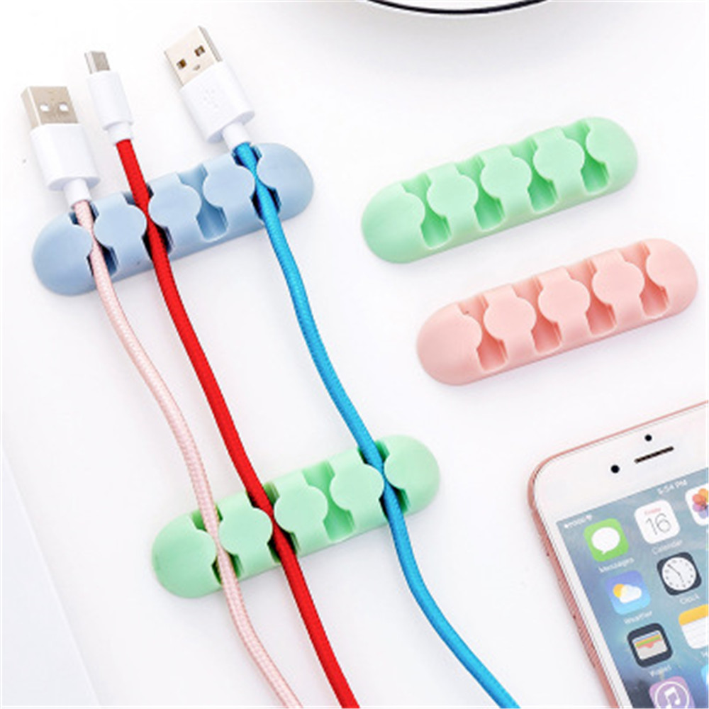 2 Pcs Silicone Winder Cable Organizer Charger Cord Winder Home Table Storage Holder Office Desk Accessory Supplies
