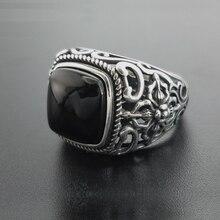 אמיתי 925 כסף שחור גרנט S925 טבעת לגברים נשי חקוק פרח אופנה פתוח גודל S925 טבעת סטרלינג תאילנדי כסף תכשיטים