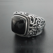 Real 925 Silver Black Garnet S925 ring For Men Female Engraved Flower  Fashion Open Size S925 ring Sterling Thai Silver Jewelry
