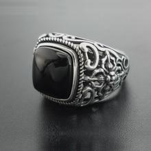 Reale 925 Argento Granato Nero S925 anello Per Gli Uomini di Sesso Femminile Inciso Fiore di Modo Formato Aperto S925 anello Dargento Tailandese gioielli
