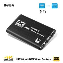 KuWFi Video Capture Card 4K HD 1080P USB 3.0 Video Capture Game Broadcaster Live Streaming Microphone HD 1080P Recording Box