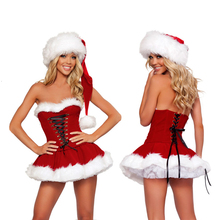 Fashion Adults Women Slim Fit Sexy Christmas Dress Suit Costumes Adult Santa Claus Cosplay Party Fancy