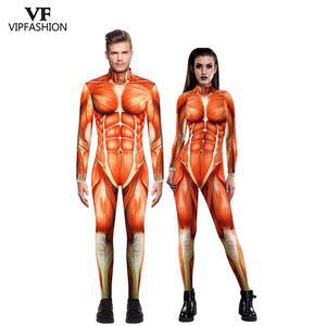 Image 1 - VIP Мода 2020 Хэллоуин косплей костюмы для мужчин женщин 3D атака на Титанов аниме напечатанные мышцы зентай Боди Комбинезоны