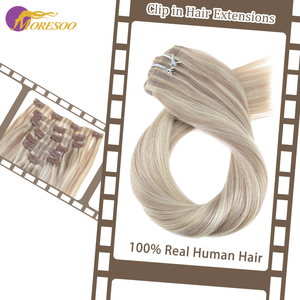 Moresoo Seamless PU Clip ins 16-24 inch Clip in Human Hair Extensions Straight Machine Remy Brazilian Hair 7PC 100G Natural Hair(China)
