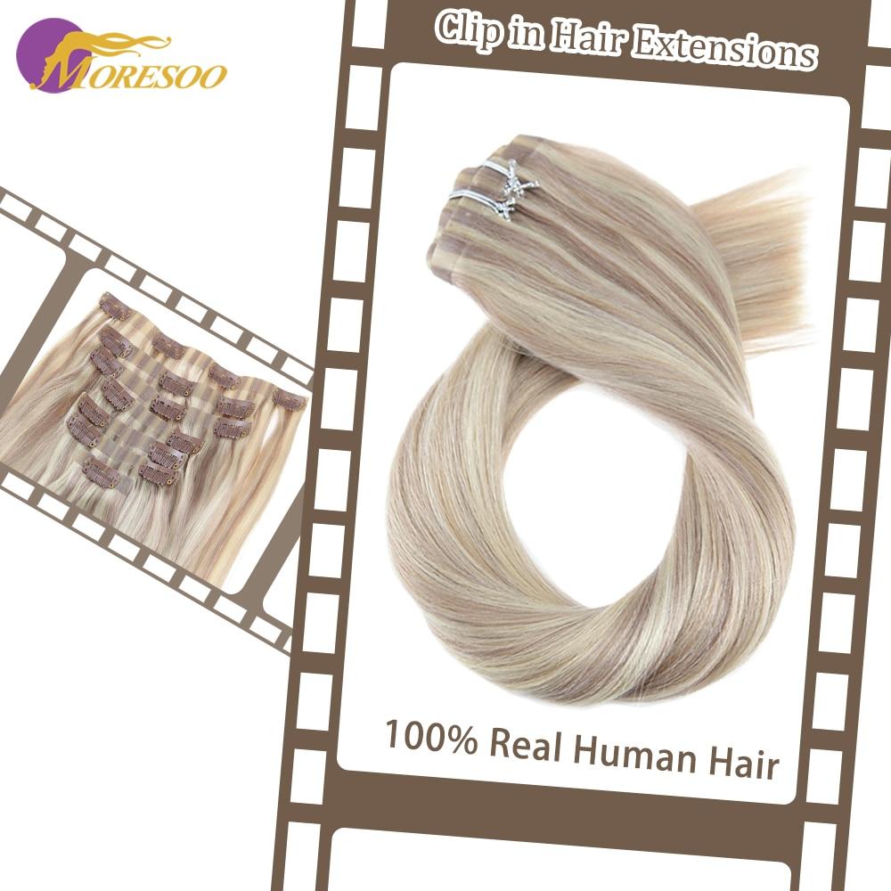 Moresoo grampo sem emenda do plutônio ins 16-24 polegada grampo em extensões do cabelo humano em linha reta máquina remy cabelo brasileiro 7 pc 100g cabelo natural