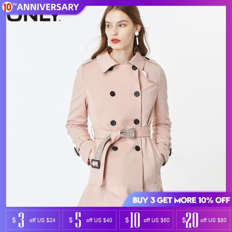 ONLY Women's Mid-length Cinched Waist Trench Coat | 119336587