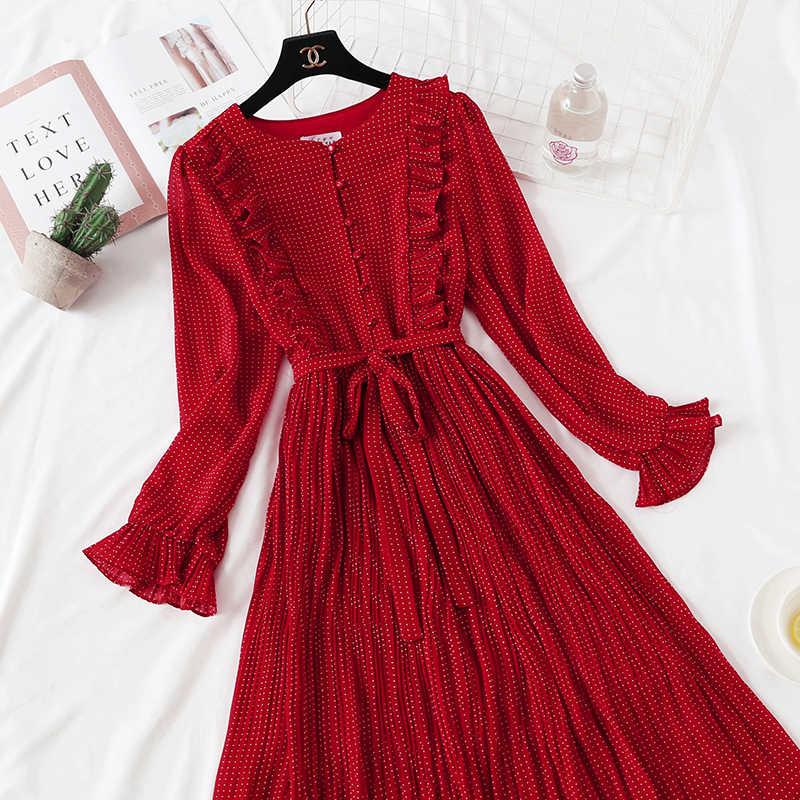 2020 Baru Musim Panas Merah Gaun Sifon Wanita Polka Dot Vintage BoHo Pantai Gaun Elegan Gaun Panjang Vestidos Mujer KJ1736