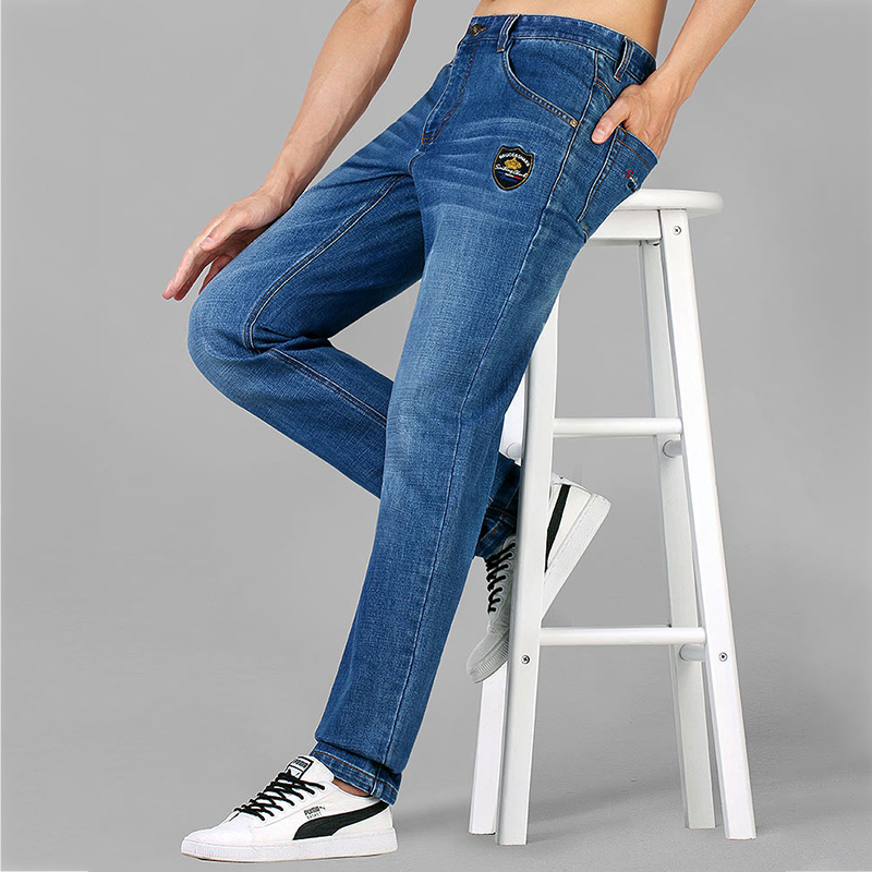 Bruce&Shark  Brand Mens Winter Blue  Jeans Lined Stretch Denim Pants Jeans For Men Slim Fit Student Youth Jeans 28-42size8236