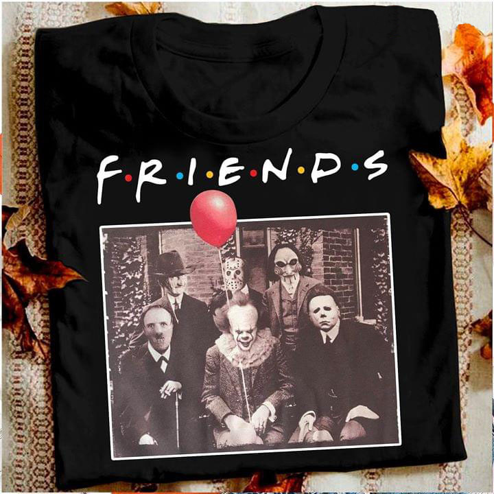 Horror Friends Pennywise Michael Myers Jason Voorhees Halloween T-Shirt T-shirt Friend Tv Show Horror Character Pennywise image