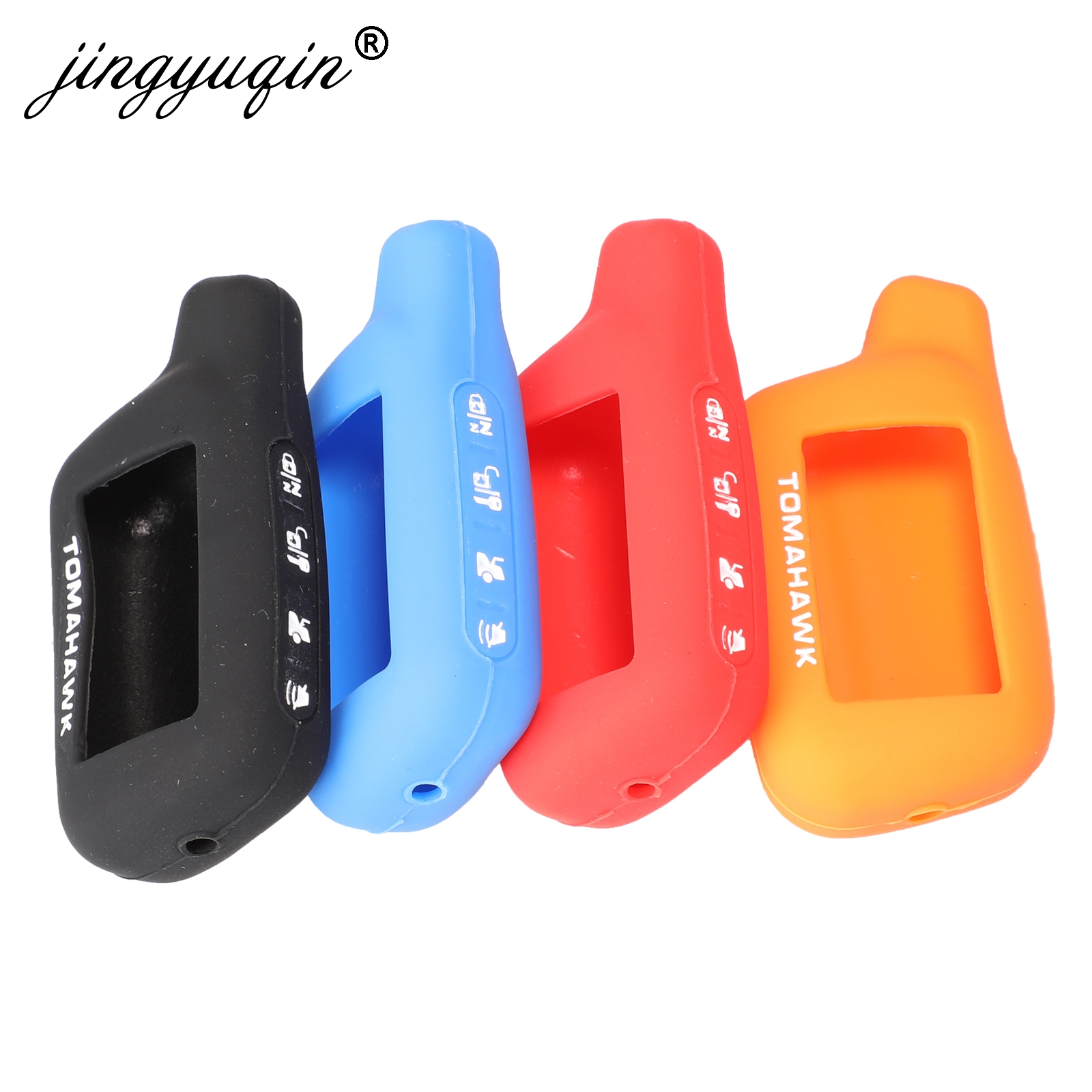 Jingyuqin 2-Way Car Alarm System LCD Rubber Cover For Tomahawk X3 X5 Remote Control Keychain Silicone Car Key Shell Case