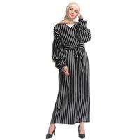 Muslim Women Modest Maxi Dress Abaya Turkey Stripe Long Robe Kaftan Clothes