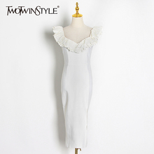 TWOTWINSTYLE Vintage Women Dress Square Collar Sleeveless Spaghetti Strap High W
