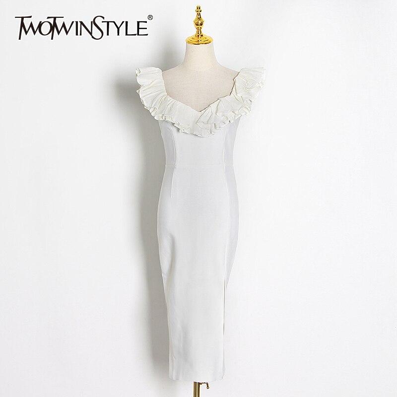 TWOTWINSTYLE Vintage Women Dress Square Collar Sleeveless Spaghetti Strap High Waist Side Split Midi Dresses For Female Fashion