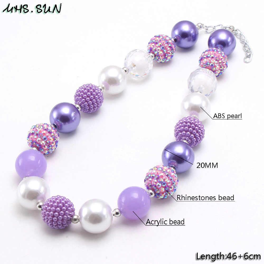 Mhs. sun moda roxo estilo bebê chunky contas colar diy artesanal bubblegum jóias colar presente para crianças presente 1pc