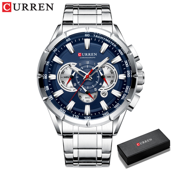 CURREN New Causal Sport Chronograph Men's Watches Stainless Steel Band Wristwatch Big Dial Quartz Clock with Luminous Pointers 11