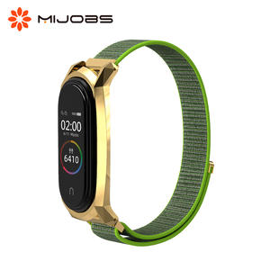 Bracelet Wristband Smart-Watch Mijobs 4-Strap Stainless-Steel Nylon Xiaomi for 4-3/Smart-watch/Miband/3-wrist-strap