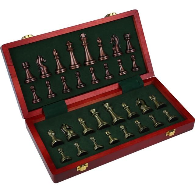 Boîte cadeau d'échecs haut de gamme, Bronze métallique, pliable pour enfants, jeu d'échiquier, ornements dédiés 2
