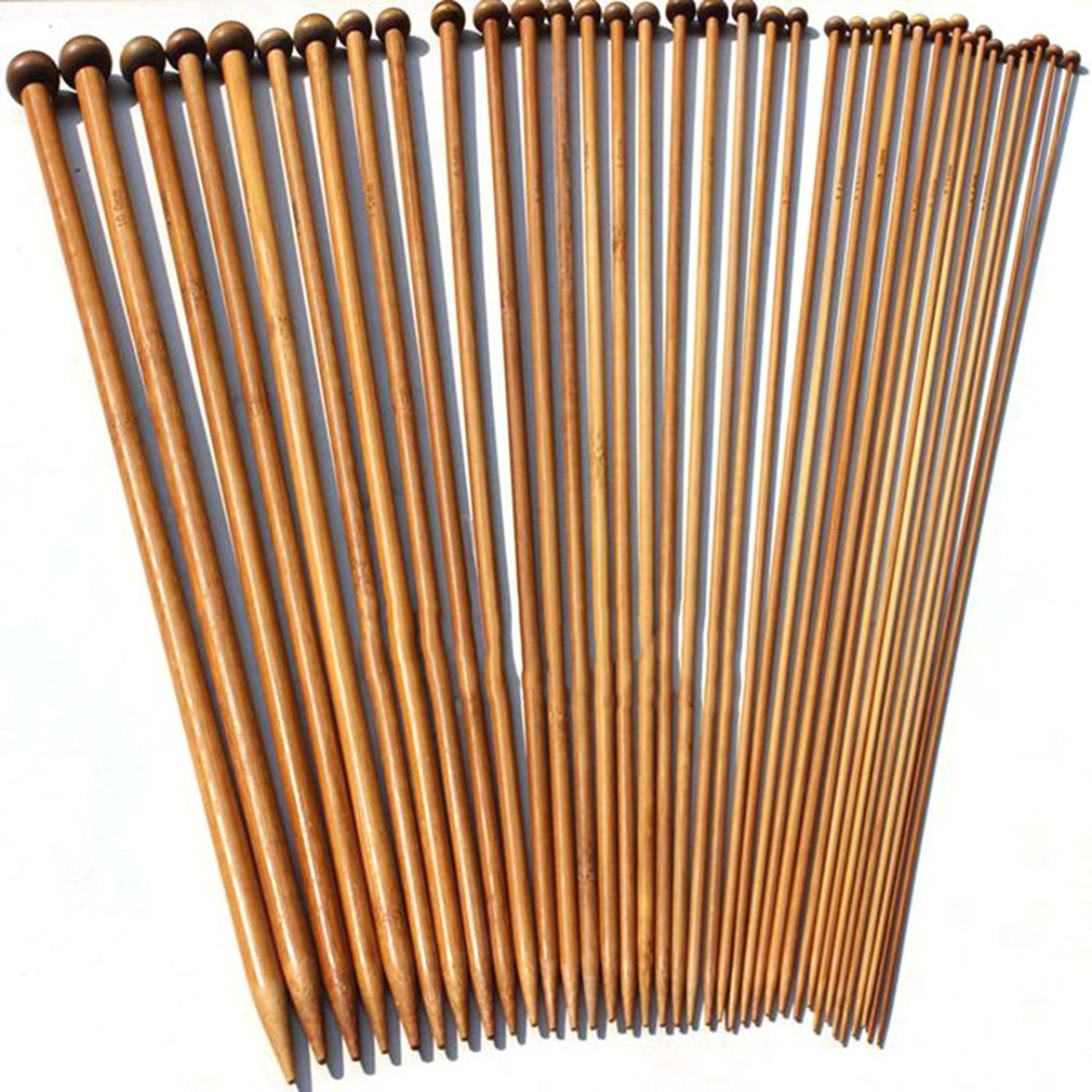 36Pcs/Set Carbonized Bamboo Crochet 2 10mm Single Pointed Smooth Knitting Needles for Scarf Sweater Knitting Tools|Sewing Needles| |  - title=