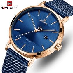 Naviforce relógio de pulso da marca superior dos homens simples relógios de quartzo dos homens moda azul aço inoxidável à prova dwaterproof água relógio de pulso relogio masculino