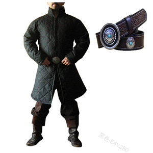 Adult Men Medieval Larp Viking Costume Leopold Gambeson Canvas Turtleneck Jacket Battle Hero Padded Winter Coat Pirate Cosplay(China)