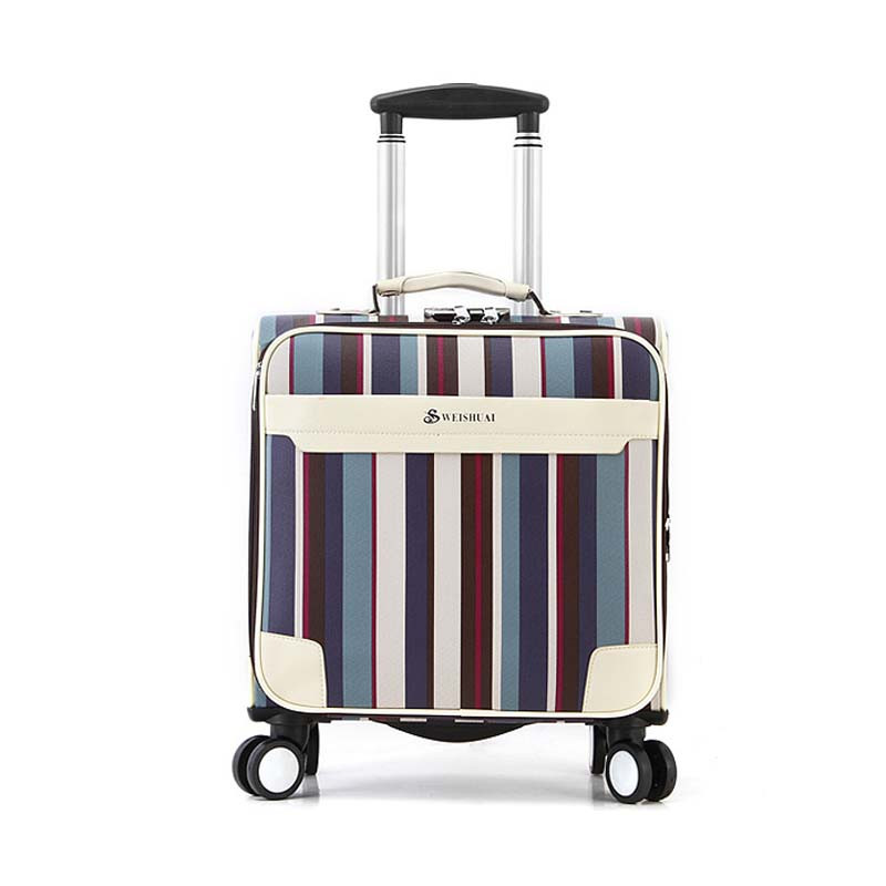 New PU Universal wheel Rolling Luggage Women Men Student Trolley Bag Suitcases Business Password box Boarding Chassis