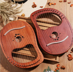10/16 String Holz Lier Harfe Metall Falle Mahony Massivholz Saiten Instrument mit Draagbag