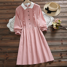 Preppy Style Spring Autumn Women Dress Turn-Down Collar Pink Navy Blue Vestido Femininos Full Sleeve Elegant Kawaii Dress DA535(China)