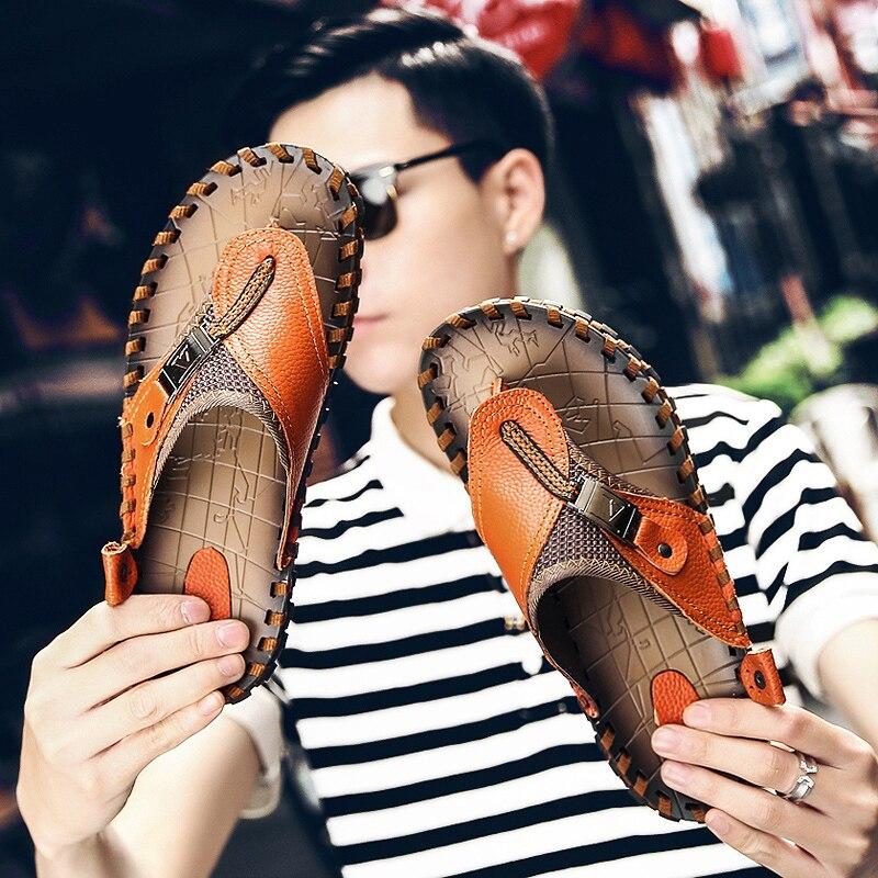 JICHI Brand Genuine Leather Summer Men Slippers Beach Sandals Comfort Men Casual Shoes Fashion Men Flip Flops Drop Shipping