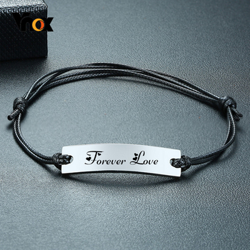 Vnox Mens Stylish Black Rope ID Tag Bracelet with Custom Personalize Engrave Name Love Date Info Length Adjustable