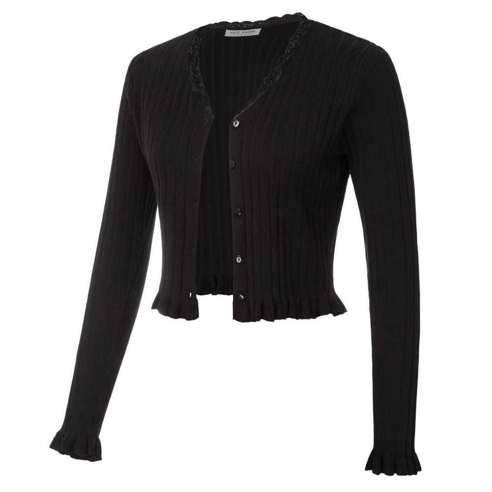 Mujer Bolero Chaqueta corta suéteres de punto acanalados de manga larga con cuello en V botón Placket Color sólido Slim Soft Jumpers señoras abrigo femenino
