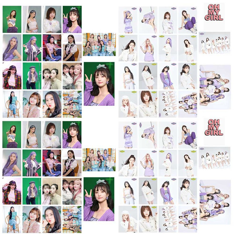 16Pcs/Set OH MY GIRL The New Season Album Crystal Card Stickers Photocard Bus Cards Stickers