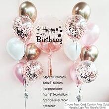 Różowe złoto konfetti zestaw balonów lateksowych z okazji urodzin balony z helem bukiet chłopiec dziewczyna Baby Shower wieczór panieński zaopatrzenie firm
